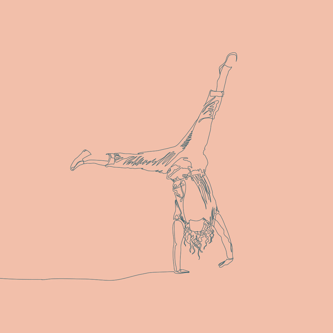 Continuous line drawing of a women doing a cartwheel