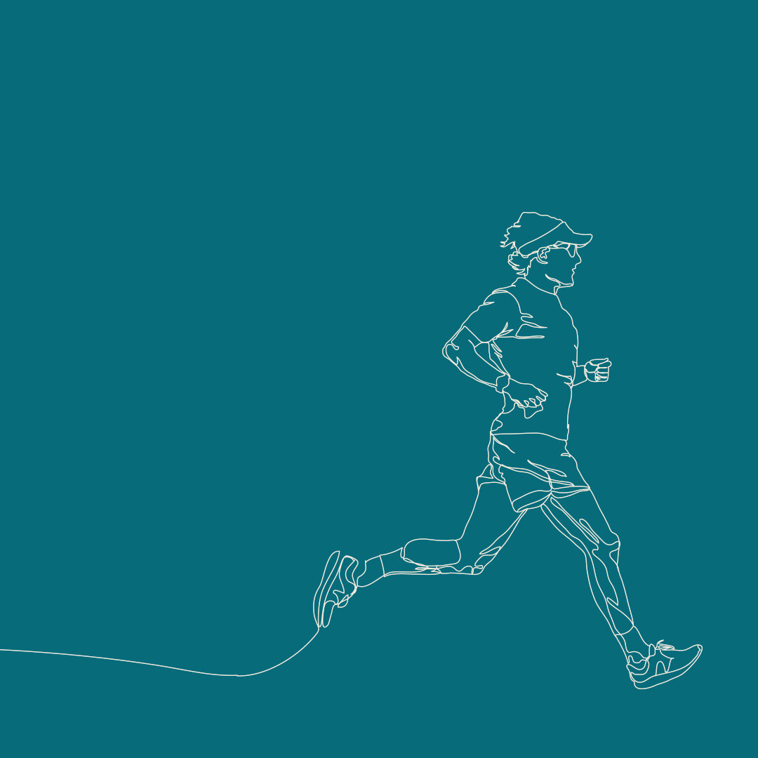 Continuous line drawing of a man jogging