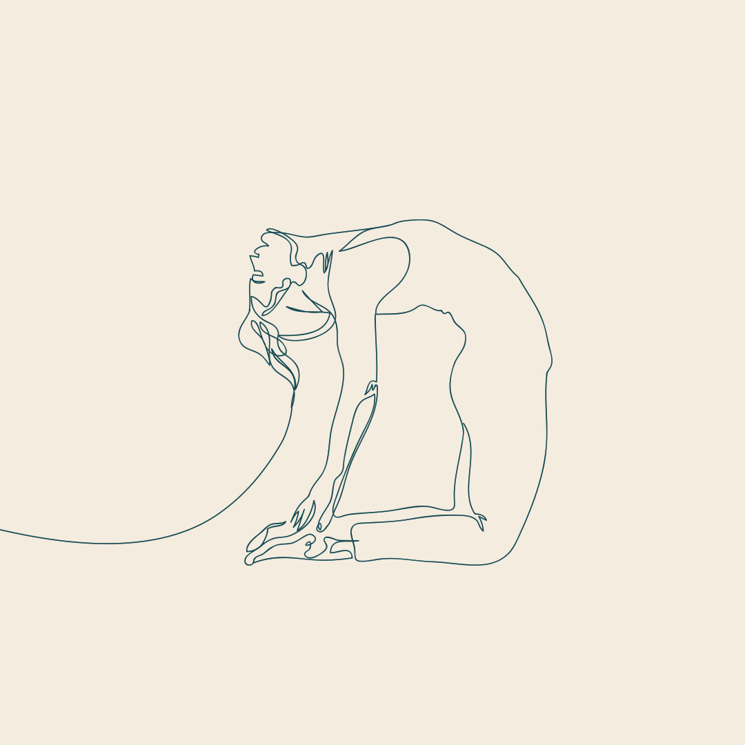 Continuous line drawing of a women doing a yoga back bend