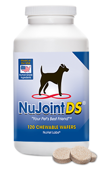NuJoint DS - Double Strength Hip and Joint SupportNatural, Human Grade IngredientsVeterinarian RecommendedNuJoint Double-Strength (DS)! This hip and joint supplement can help dogs of all ages by promoting optimal joint health.NuJoint DS has increased amounts of the active ingredients MSM (Methylsulfonylmethane), Glucosamine, and Chondroitin. NuJoint DS also includes Vitamin C (Ester-C®) which is required for the synthesis of collagen (a component of joint cartilage), and it can also reduce free radical damage to cartilage.We only use the highest-quality pharmaceutical, human grade ingredients, cold-processed and specifically compounded in a FDA-registered laboratory for maximum potency and effectiveness.NuJoint DS supports optimal joint health and mobility. NuJoint DS comes in chewable wafers are flavored with real chicken liver and easy for pets to digest. NuJoint DS is safe and beneficial for dogs of all ages, including pregnant females.