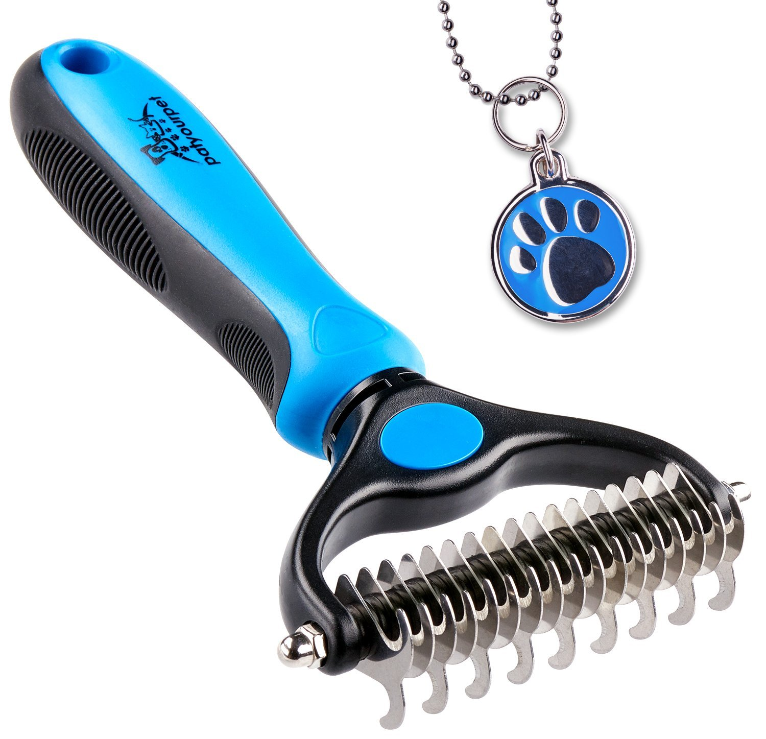 De-Matting Rake - 2-in-1 DUAL HEAD - Start with 9 teeth side for stubborn mats and tangles and finish with 17 teeth side for thinning and deshedding. Achieve faster and more professional dematting and grooming results!ABSOLUTELY SAFE TO YOUR PET - No-scratch rounded outside teeth gently massage the pet skin. Meanwhile, teeth inner side is sharp enough to smoothly cut through the toughest mats, tangles and knots.FORGET ABOUT SHEDDING! - Regular brushing easily removes dead undercoat so no fur goes flying. Skin massage ensures better blood circulation promoting healthy and shiny coat. Perfect for medium and long haired pets.ENJOY COMFORTABLE BRUSHING - Soft ergonomic anti-slip grip makes regular combing convenient & relaxed. No-rust stainless steel teeth are ultra DURABLE & EASY TO CLEAN.GET RID OF HAIR MESS... or GET A REFUND! - If, for whatever reason, you don't absolutely love your pet dematting rake, just contact us, and we'll refund every penny (or replace it, if there is an issue).