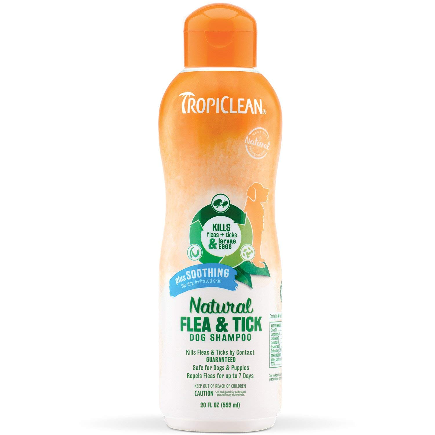 Tropiclean Shampoo - I have used a lot of different shampoos and this is my favorite! Even if fleas and ticks aren't an issue I love this gentle formula that really cleans and leaves an amazing, long lasting scent.Infused with Coca Butter to provide a SOOTHING relief from dry, itchy skin due to flea and tick bitesOur Natural Flea and Tick Plus Soothing shampoo contains NO PYRETHRIN OR PERMETHRIN, with 5 EPA APPROVED Natural Essential Oils - Clove Oil, Lemongrass Oil, Cedarwood Oil, Cinnamon Oil and Sesame Seed Oil - for a pleasant citrus aromaThe combination of NATURAL ESSENTIAL OILS helps to effectively REPEL fleas, ticks, larvae and eggs for up to 7 days when applied to dogs and puppies 12 weeks or olderRecommended for use on DOGS ONLYSAFE enough for routine bathsProudly Made in the USA