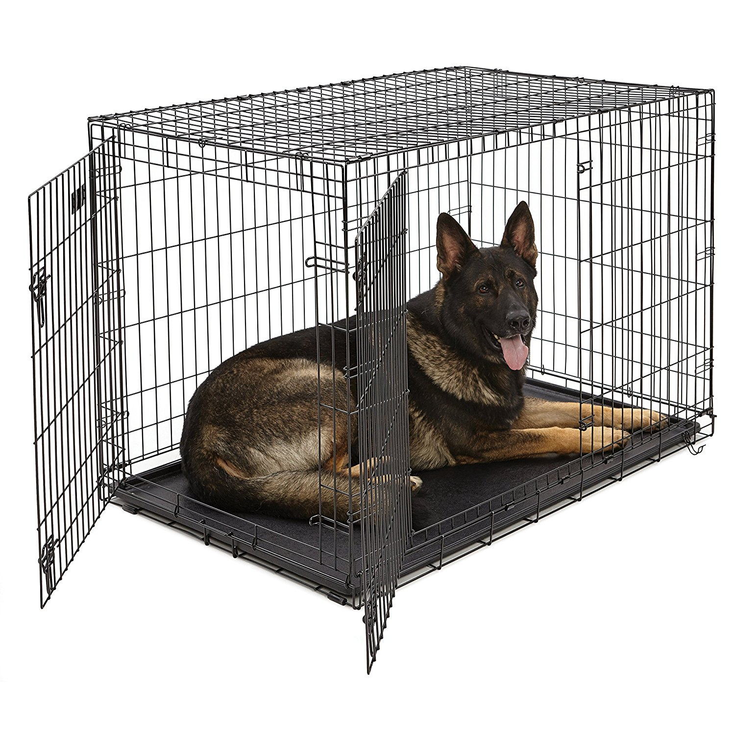 Large Dog Crate - For Standard GoldendoodlesSingle door folding metal dog crate, iCrate measures 48L x 30W x 33H inches Dog crate includes a FREE divider panel, durable dog tray, carrying handle,