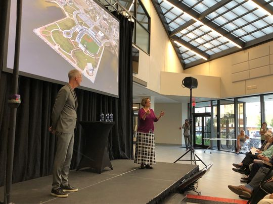 Urban planning expert Jeff Speck and Marina Khoury, a partner at the urban planning firm DPZ, give a presentation Tuesday on the West Main Master Plan at the Studer Community Institute.   (Photo: Jim Little)