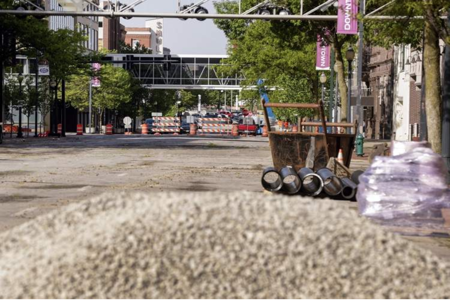Work begins last week on converting Third Avenue SE near Greene Square from one-way to two-way traffic. It marks the final downtown street to undergo the conversions that began in 2015. (Jim Slosiarek/The Gazette)
