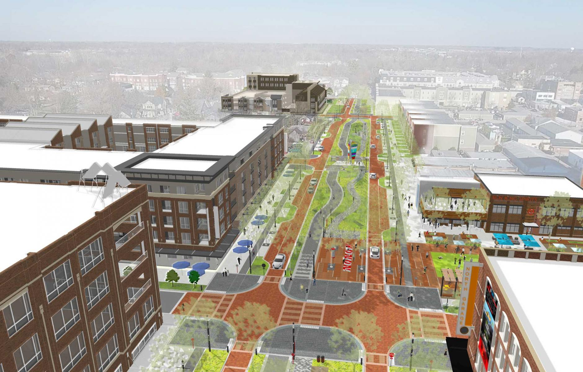 Carmel, Indiana, builds a high-quality public realm at the heart of its new Midtown district.   ROBERT STEUTEVILLE
