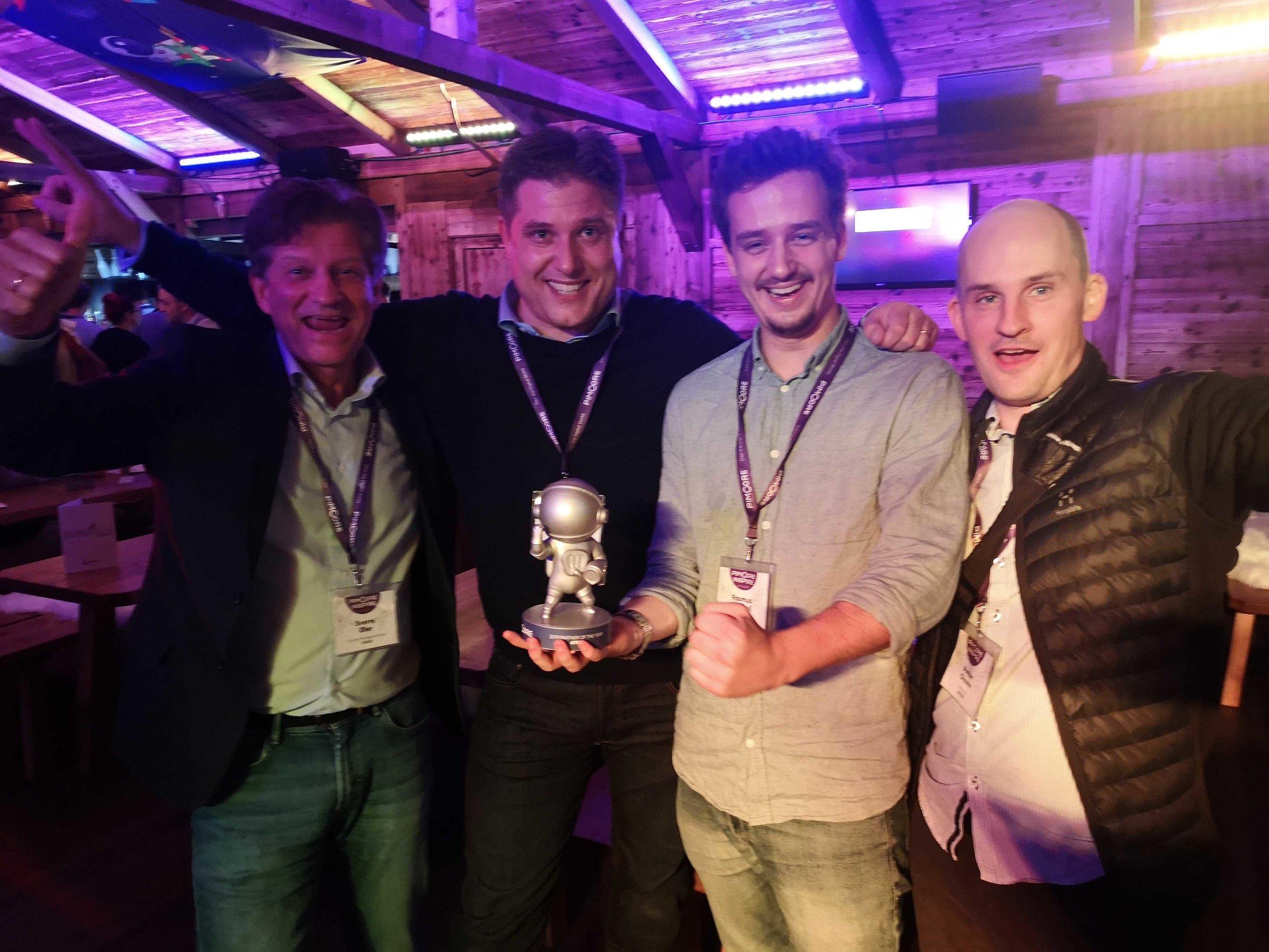 Fyra glada vinnare! Från vänster: Sverre, Johan, Rasmus och Petter