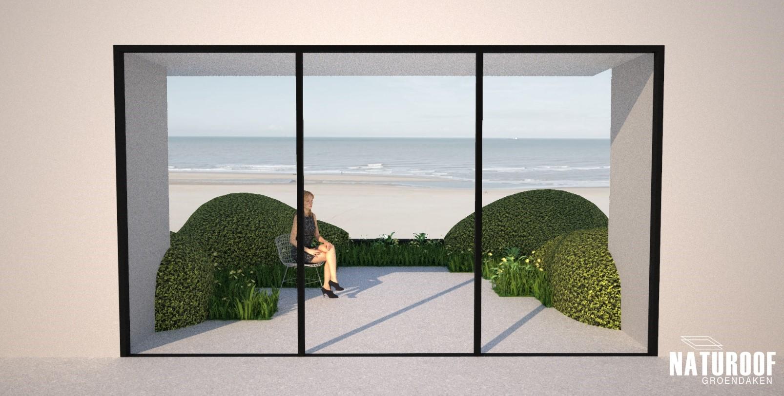 3D Visualisatie dakterras aan de zeedijk