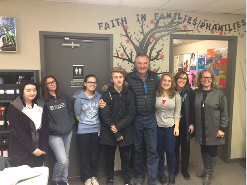 ANGELA AND HER STUDENTS WITH DEREK PETERSON
