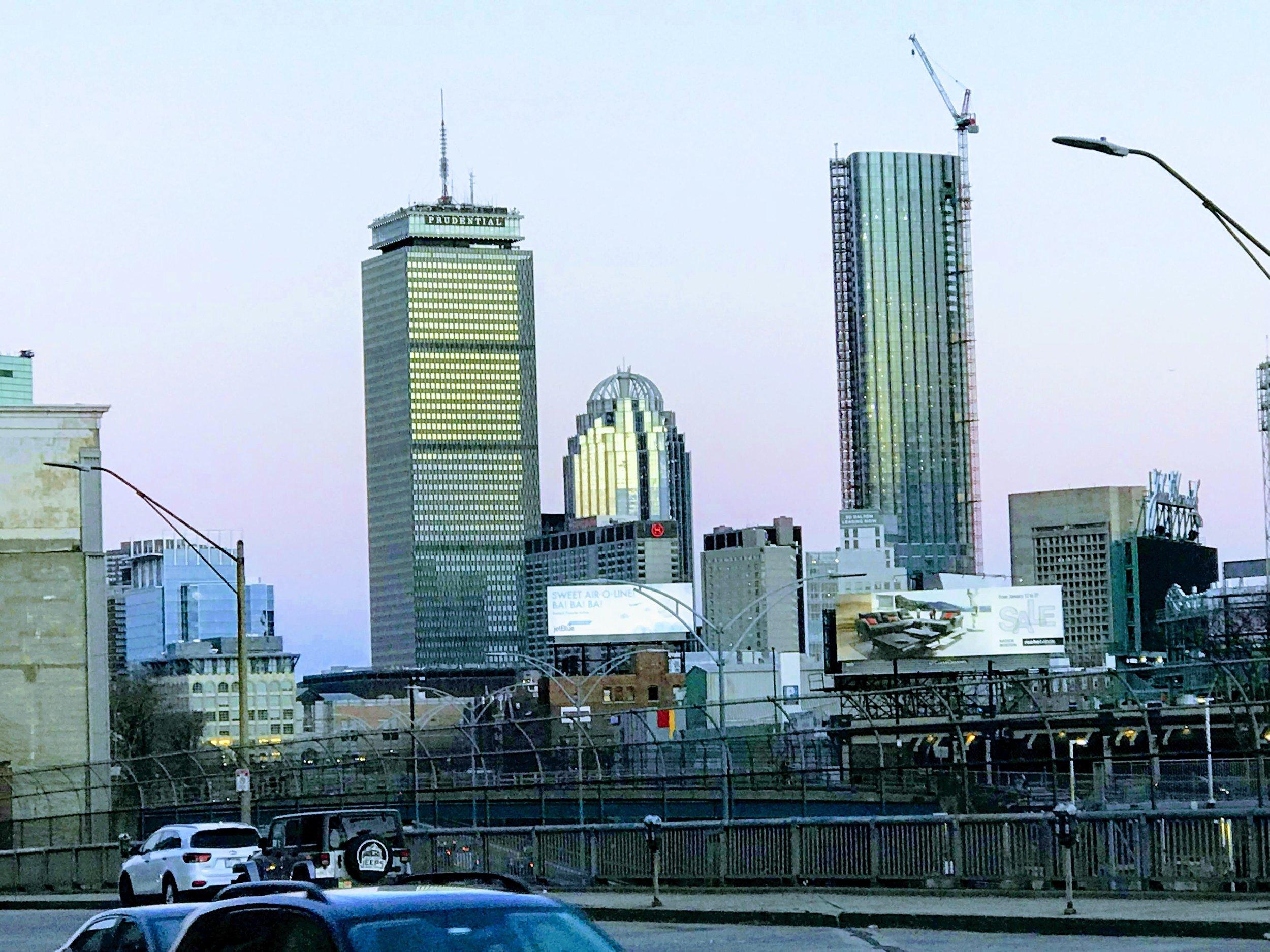 Sunset and skyline, Boston