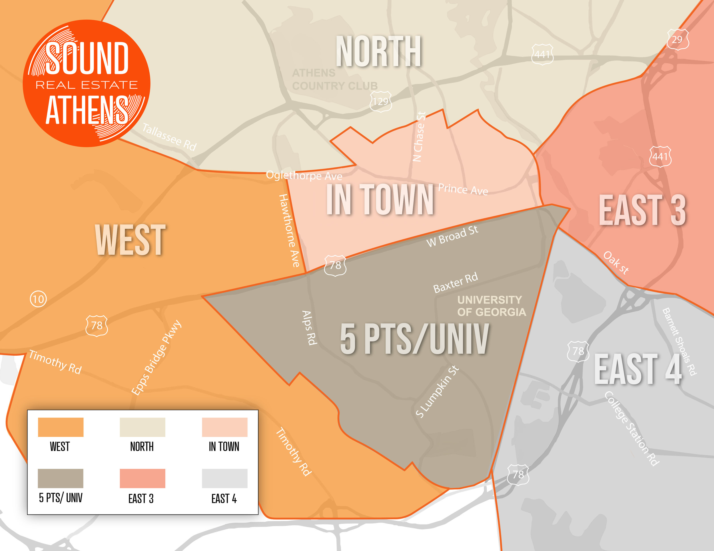 MLS Classification of Athens, GA neighborhoods fall into one of 6 distinct areas as displayed above. The actual neighborhood names, within these areas, differ-- more information below, or call Brant if you need help!