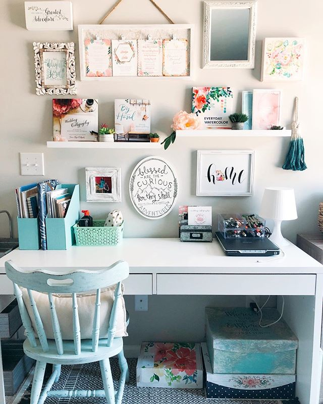 Today I created my work space in the new house 😍 My husband and I have to share an office and he said I could set up on one wall, so I just took it literally and filled up the whole wall with pieces that inspire me and make me smile. I'm excited to sit here and continue to design and paint pretty things 💕 Time to get back to work!