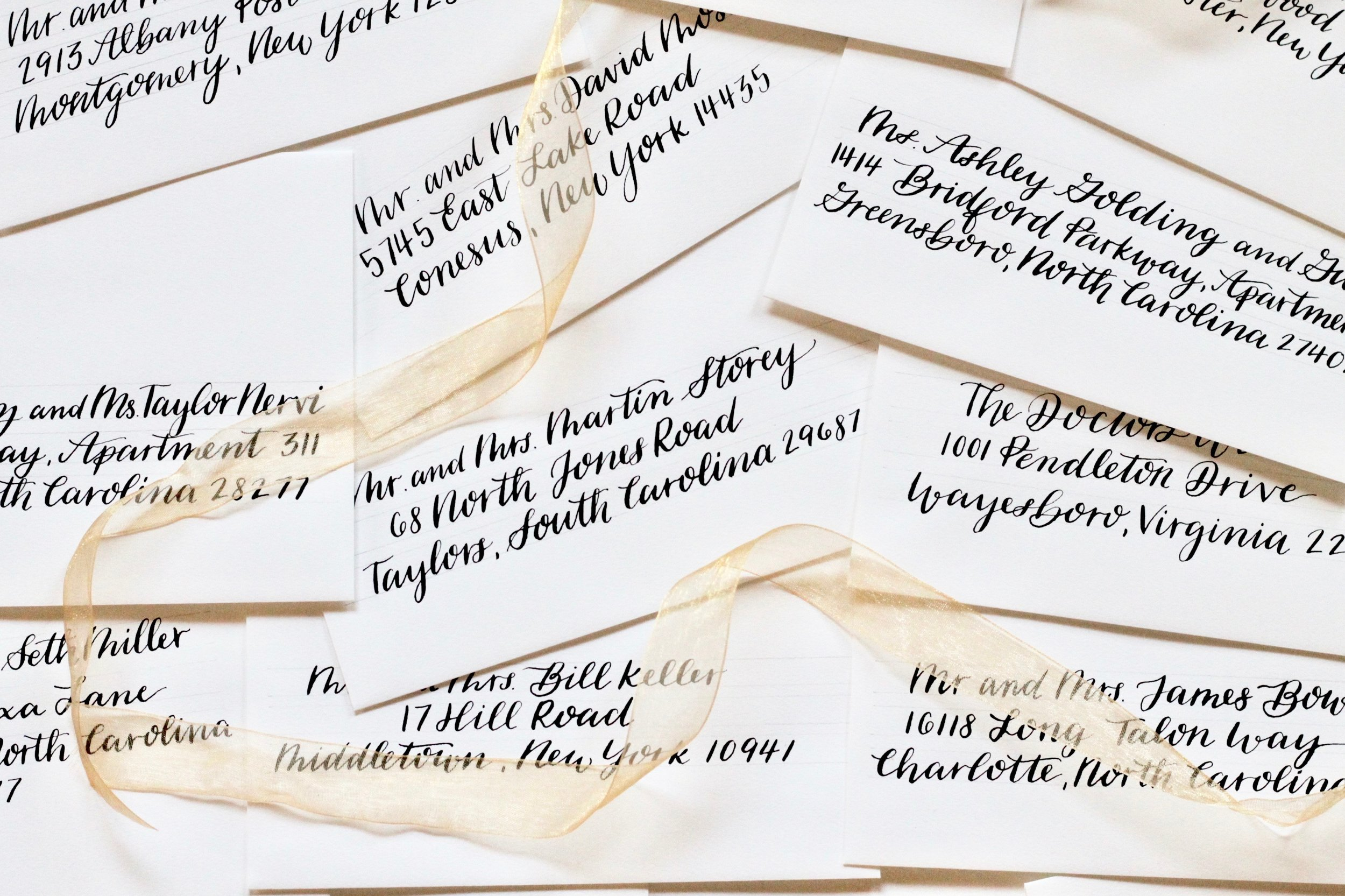 Envelope Calligraphy - Small things make a big impact. Like beautifully addressed envelopes. Your guests will be oohing and ahhing before the wedding day even arrives! Bring a little joy to your friends' and family's mailbox.