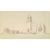RIBA31239  Design for the Australian National War Memorial, Villers-Bretonneux Military Cemetery: sketched perspective as executed