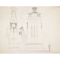 RIBA31143  Design for the Cenotaph, Whitehall, London, surmounted by an urn: sketched elevations and perspective