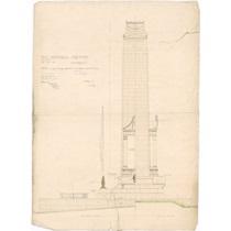 RIBA92010  Designs for the Preston Cenotaph and War Memorial, Market Square, Preston, Lancashire: half front elevation and half side elevation
