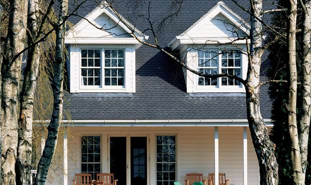 The perfect dormer — just under halfway up the roof, and small enough not to dominate the elevation.