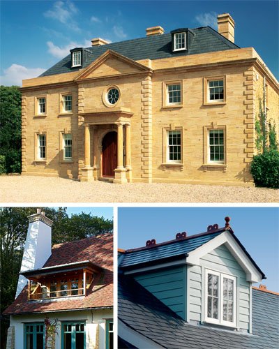 It seems the grander the house, the smaller and spindlier the dormers — to great success; a flat-roof dormer can look perfectly in place, as on this new Arts & Crafts-style house; A more traditional dormer, which would have perhaps benefitted from being positioned just below the ridge line.