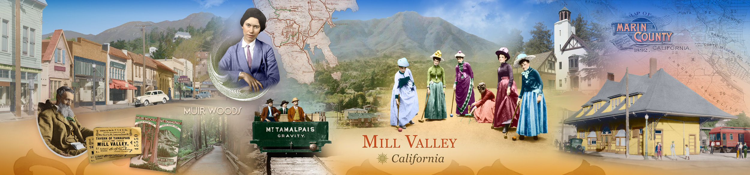 Mural Commissioned by Wells Fargo Bank for Mill Valley Branch. Elsa Gidlow is located top center.  ~March 2019