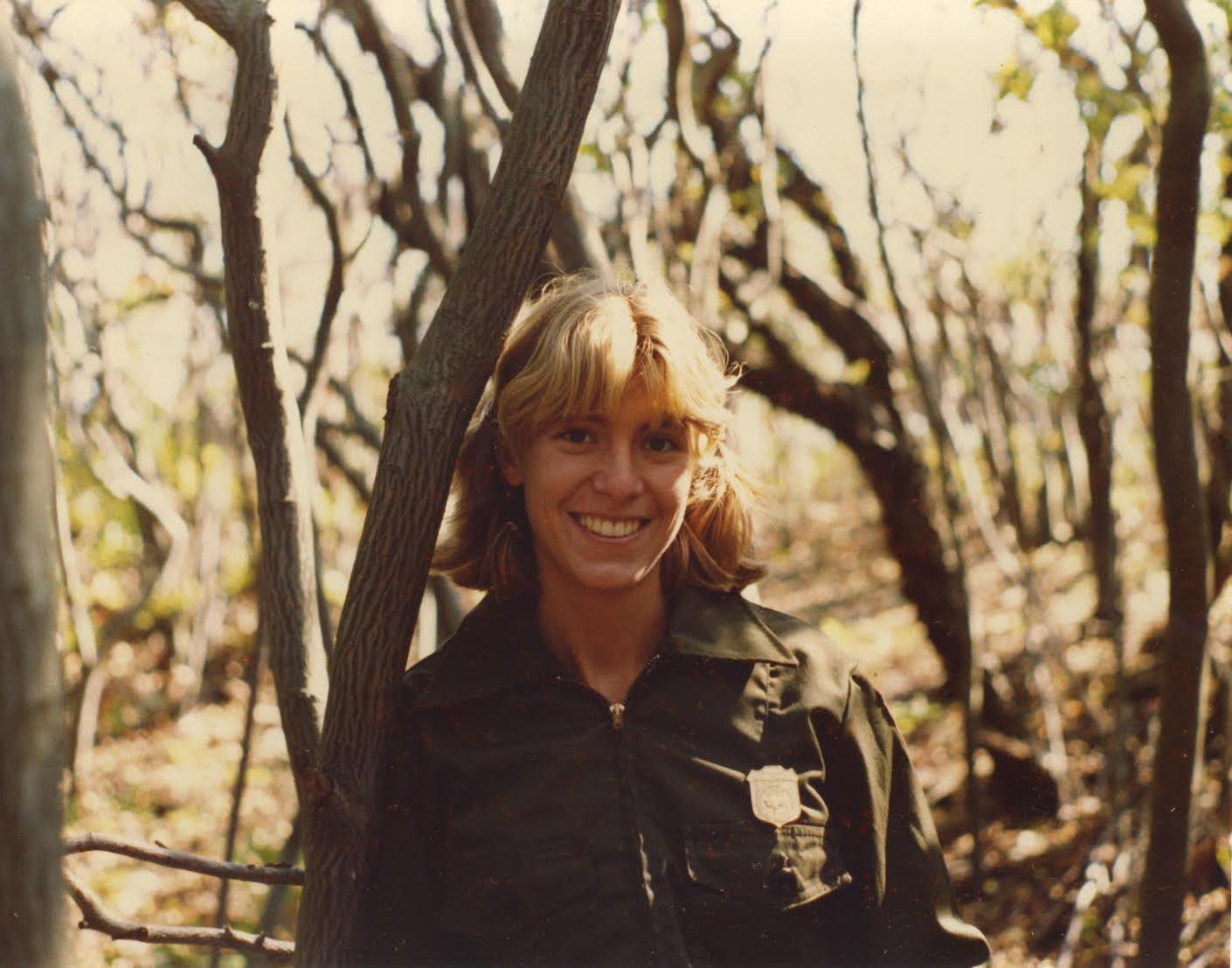 Sally Canepa during her days as a National Park Service Ranger on Fire Island in the Sunken Forest Watch Hill in 1979.