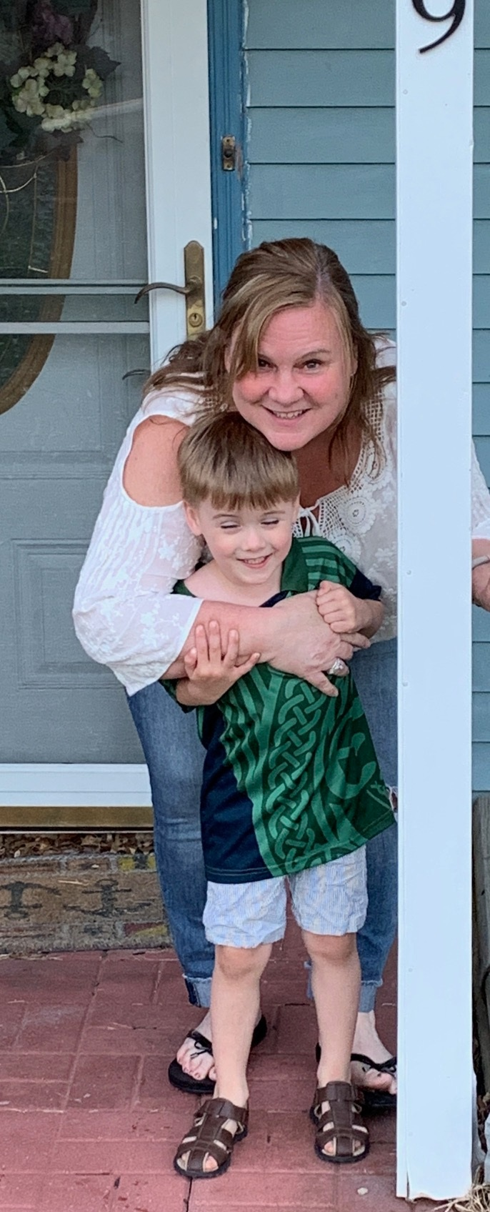 Trish with her grandson.