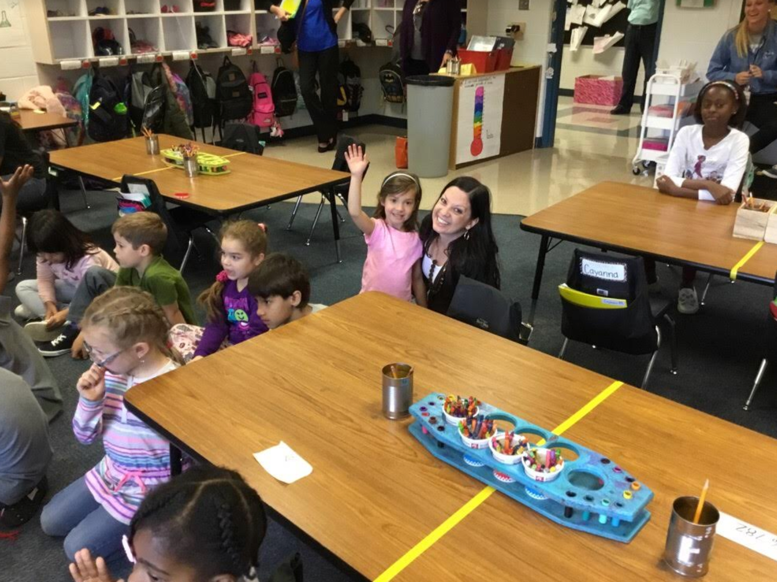 Joni with her daughter's kindergarten class.