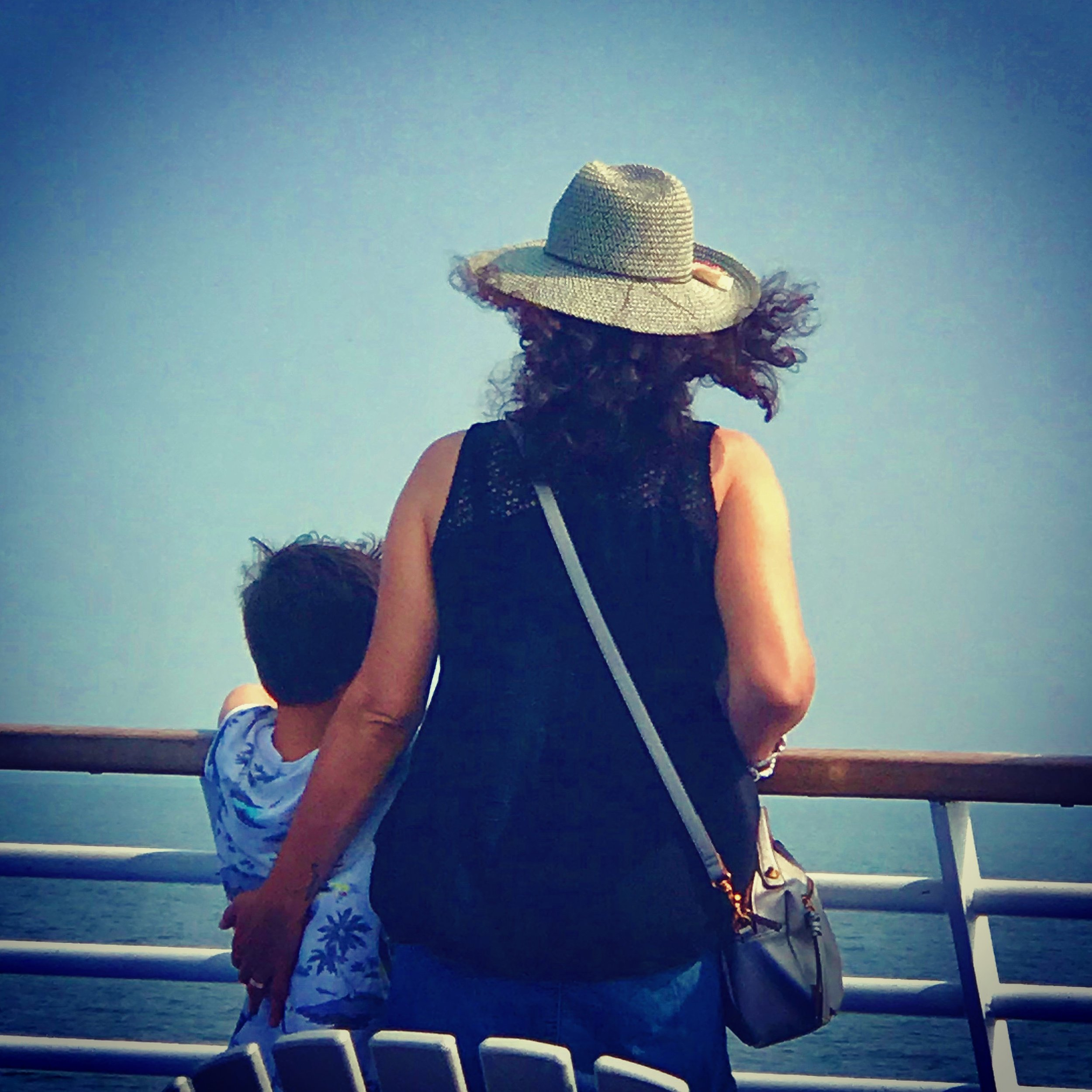 Wendy and her youngest, Noah, on the ferry.