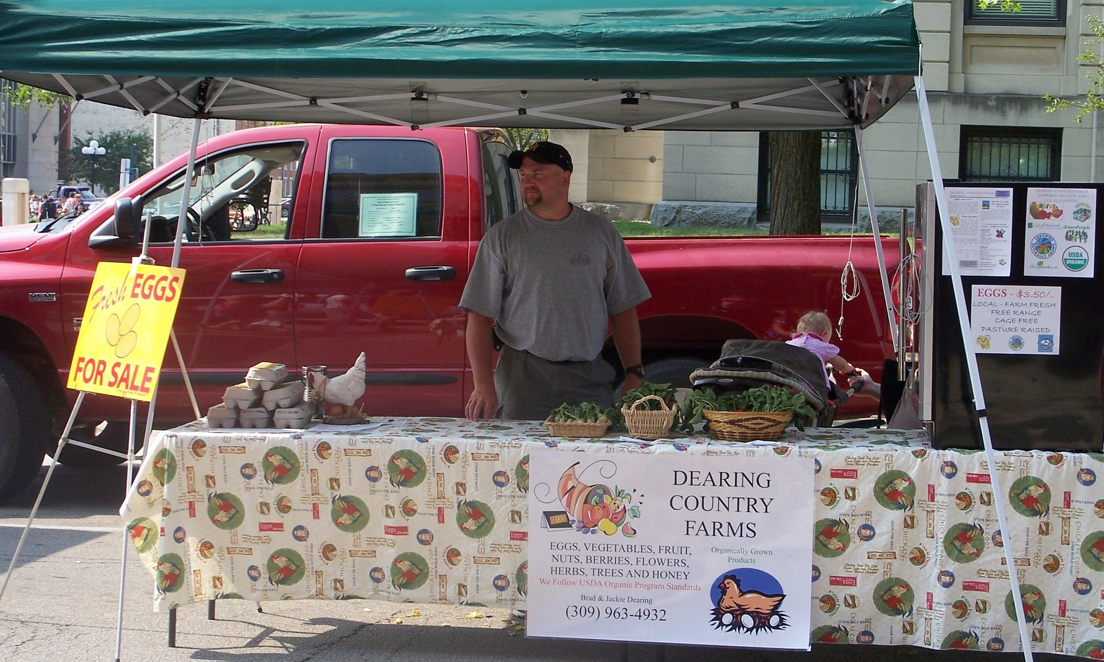 Meet Brad Dearing,McLean County Farmer - Brad owns Dearing Country Farms, a farmstead raising chickens for meat and eggs and growing seasonal produce, trees, fruit, flowers, grasses, nuts and herbs. Products can be purchased directly from the farm, at local farmers markets, and at health food stores.