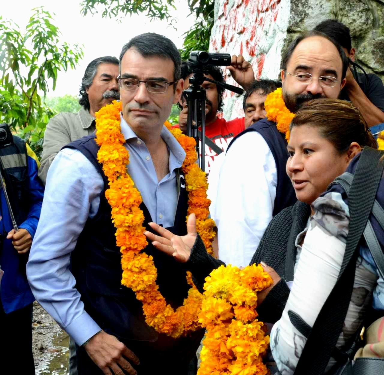 James Cavallaro, left, visiting the Ayotzinapa Teachers' College in 2015. In September 2014, Mexican state agents and others forcibly disappeared 43 students from that college.