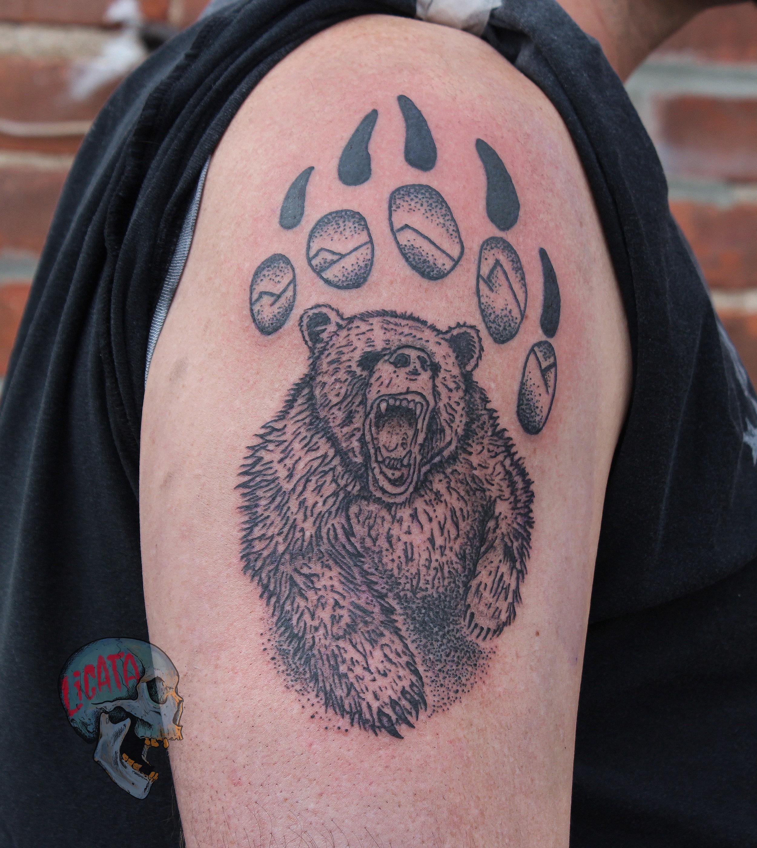 Bear Paw Tattoo on Shoulder