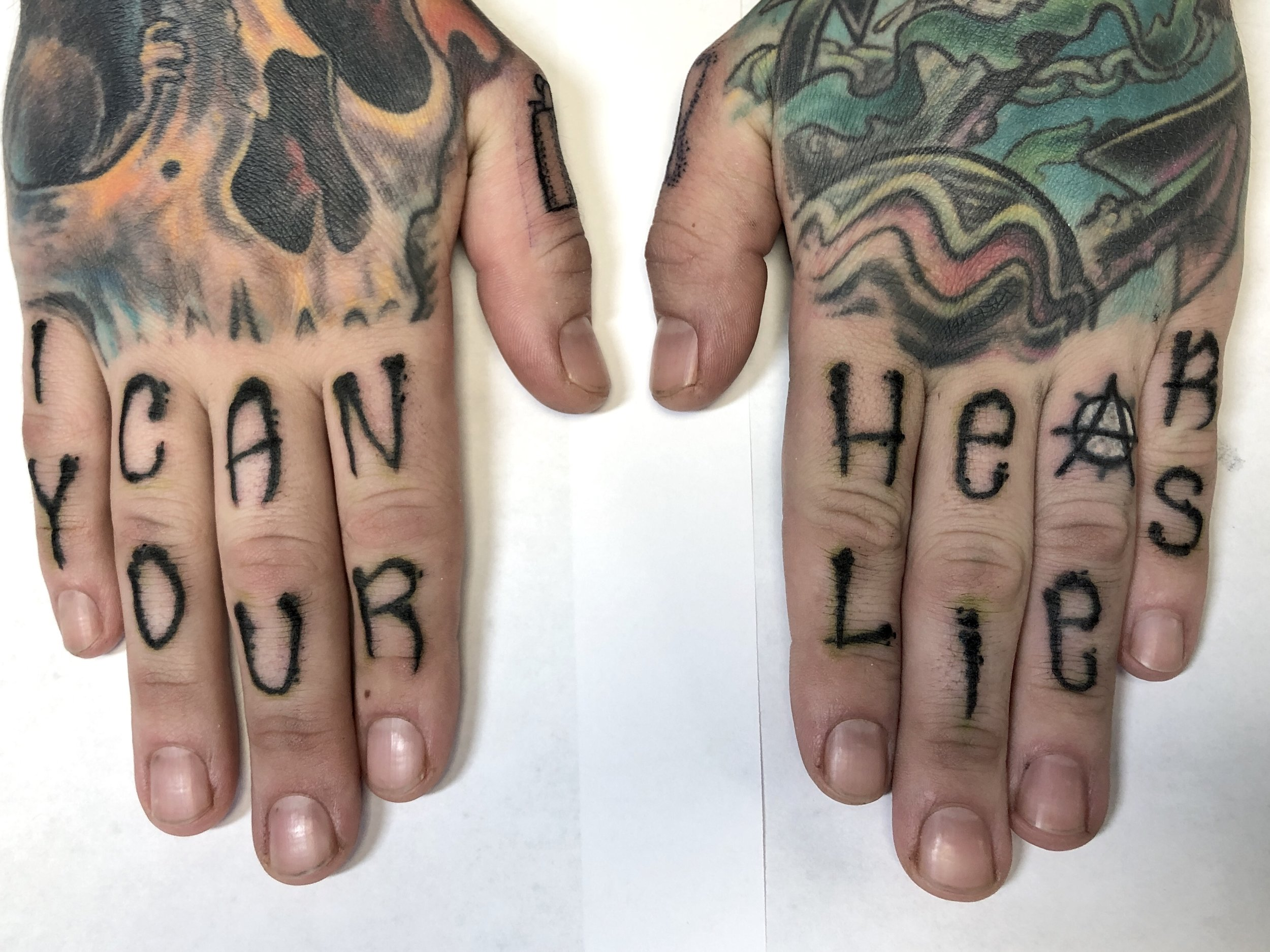 I can hear your lies knuckle tattoo