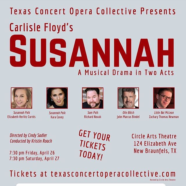 It's production week and performances are this weekend on Friday, April 26th and Saturday, 27th at 7:30pm at Circle Arts Theatre in New Braunfels, TX! I'm singing the title role for Friday's performance and am grateful to share the stage with some fantastic local singers Rick Novak is singing the role of Sam and John Marcus Bindel performs his signature role as Rev. Olin Blitch. I would love to see you there come say 'Howdy!' Tickets start at $20 with discounts for seniors, veterans and students. Come enjoy the show and say 'Howdy!' www.texasconcertoperacollective.com #supportlocalartists #SingerMomma #ProducerMomma