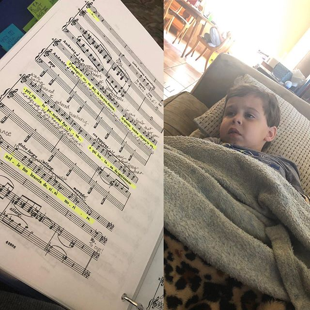 Strep throat has descended upon my house. Home with this sick little boy, but my head is still in my score! First, me, then Andy and now Thomas. 😷😷😷 You better watch out Raul Cortes! It's coming for you! #SingerMomma #glamlife #Aida #norestfortheweary