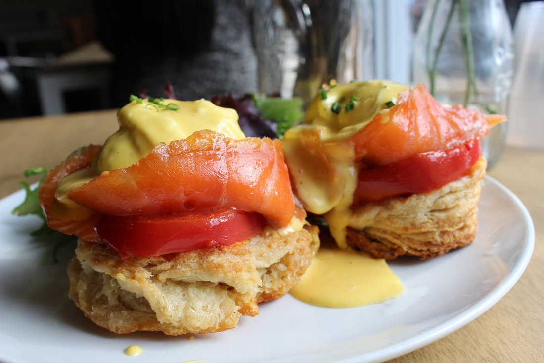 Salmon + Tomato Eggs Benedict (Weekends Only)