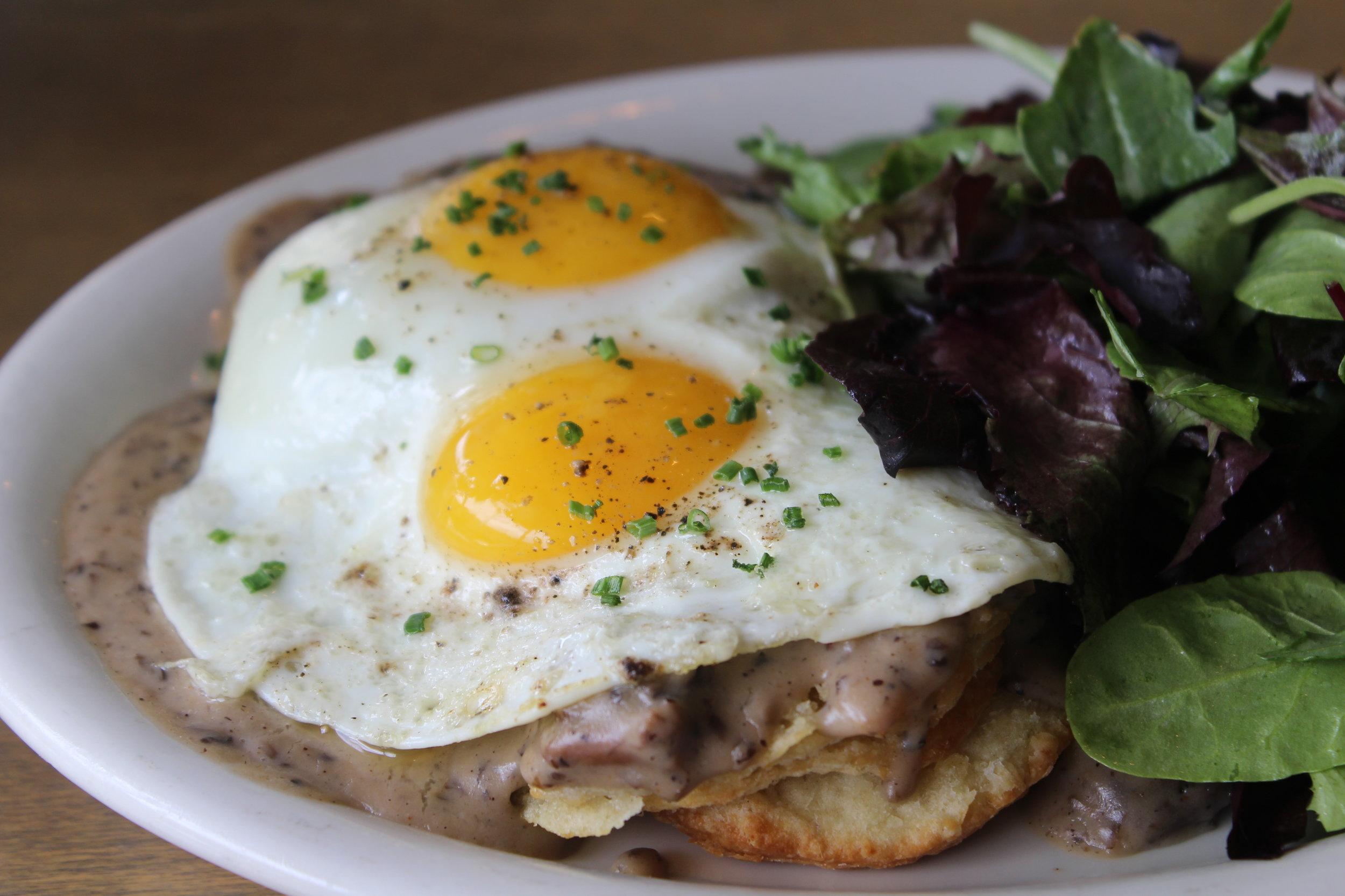 Biscuits + Mushroom Gravy, Eggs