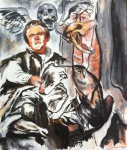 "Dog, Dwarf, Meat , acrylic on linen, 47"" x 41"", 2016"