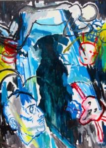 "Death Painting , acrylic on linen,74"" x 54 3/4"",2011"