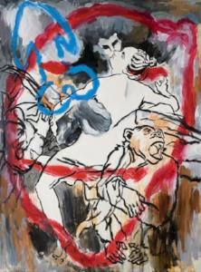"""Correggio Kiss , acrylic on linen, 74"""" x 54 3/4"""", 2009"""