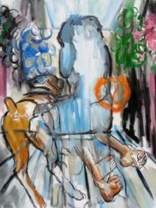 "Rome Belvedere (Remembering Kitaj) , oil and paint stick on linen, 48"" x 38"", 2008"