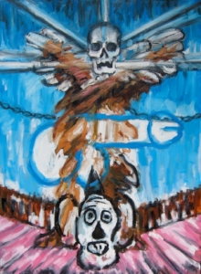 """Life and Death 1 (Hard to Be Human) , acrylic, oil and paint stick on canvas, 68 1/2"""" x 58 3/4"""", 2010"""