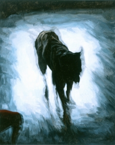 "Liminal Dog I , oil on linen, 63"" x 50"", 2007"