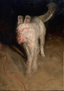 """White Dog , oil on linen, 66 1/2"""" x 47 1/4"""", 1994"""