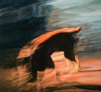 "Liminal Dog IV , oil on linen, 45"" x 49"", 2008"