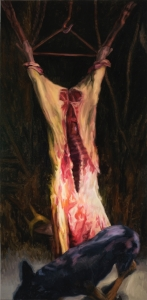 """Marsyas Dog (On the Difficulty of Painting at All) , oil on linen, 72"""" x 34"""", 2012"""