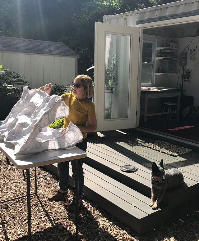 Nicole finishing some of the sculptural portions of her upcoming site specific installation at White Space Gallery in June.  Olive helping.  #whitespacegallery #susanbridges #tinyhouse #australiancattledog #blueheeler #marciawoodgallery