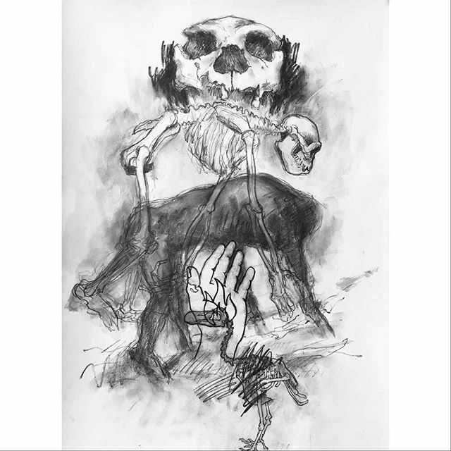 """Just finished this drawing- """"Prometheus and Dodo"""", graphite and gesso on Rives BFK, 30"""" x 22"""". #ecological #biodiversity #conservation #extinction"""