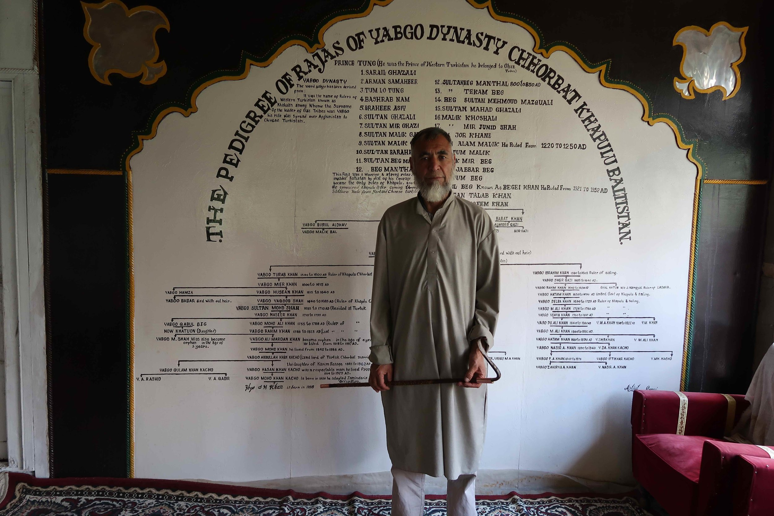 Decendent of the Khan of Baltistan still lives in Turtuk, India. He loves to explain his entire family tree of Khans to you!