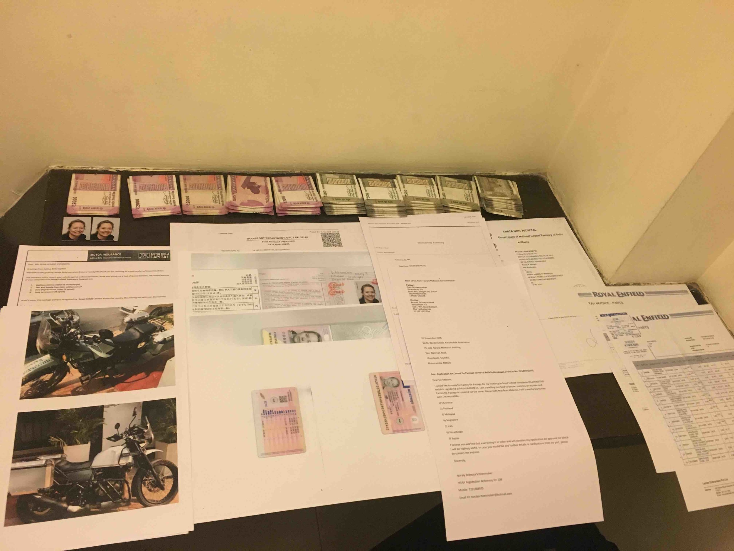 Paperworks and cash necessary to get a Carnet-de-Passage in India