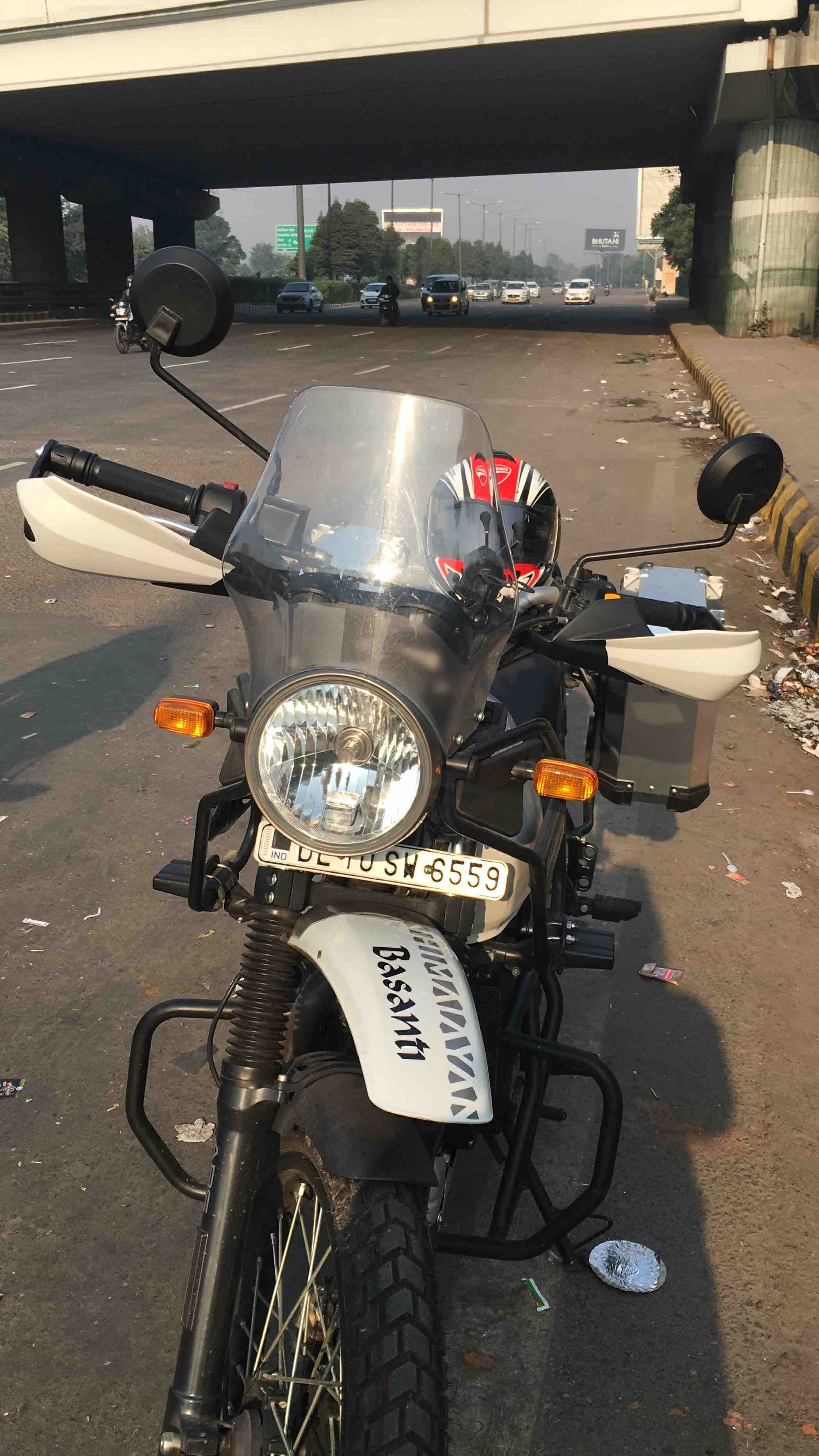 Knuckle guards installed on Royal Enfield Himalayan 2018