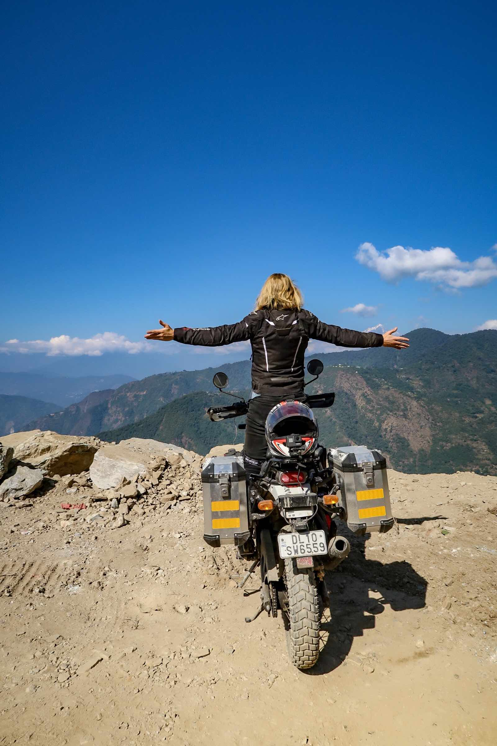 The view from my Royal Enfield Himalayan ABS (2018) in Sikkim, India.